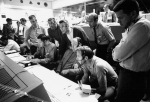 View of Mission Control Center during the Apollo 13 oxygen cell failure April 14, 1970